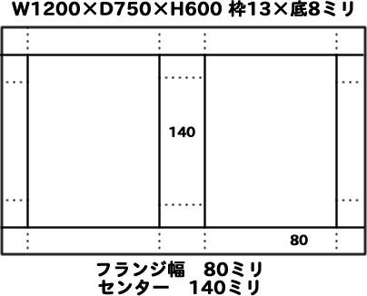W1200×D750×H600 枠13×底8ミリ