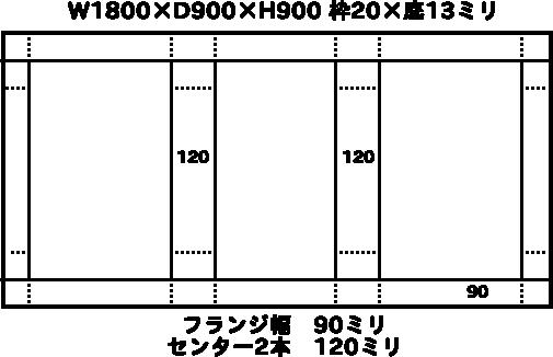 W1800×D900×H900 枠20×底13ミリ