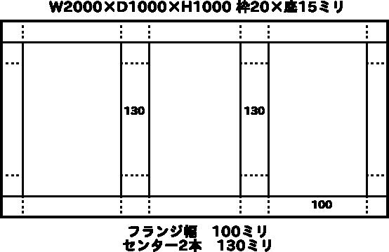W2000×D1000×H1000 枠20×底15ミリ