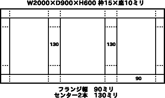 W2000×D900×H600 枠15×底10ミリ